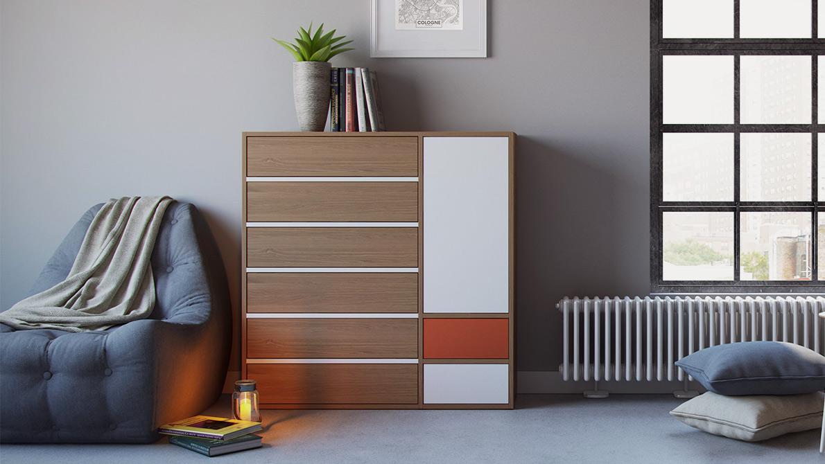 Dresser GRYD in oak with white and oak fronts