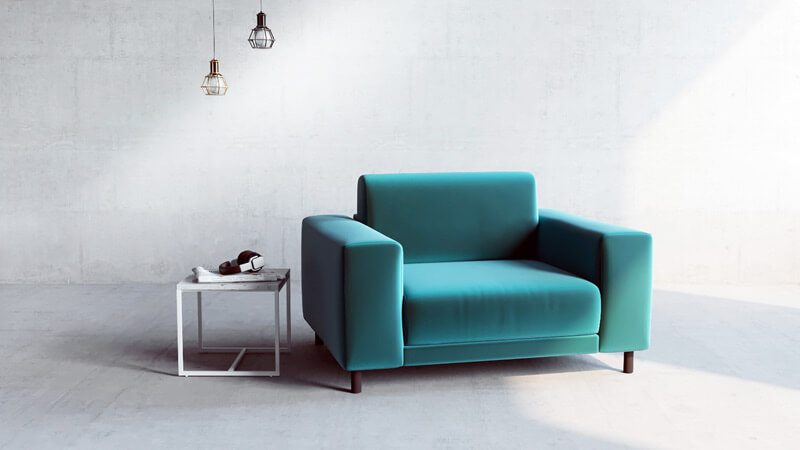 individual armchair in green velvet