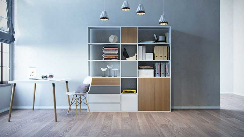 Shelving system with desk
