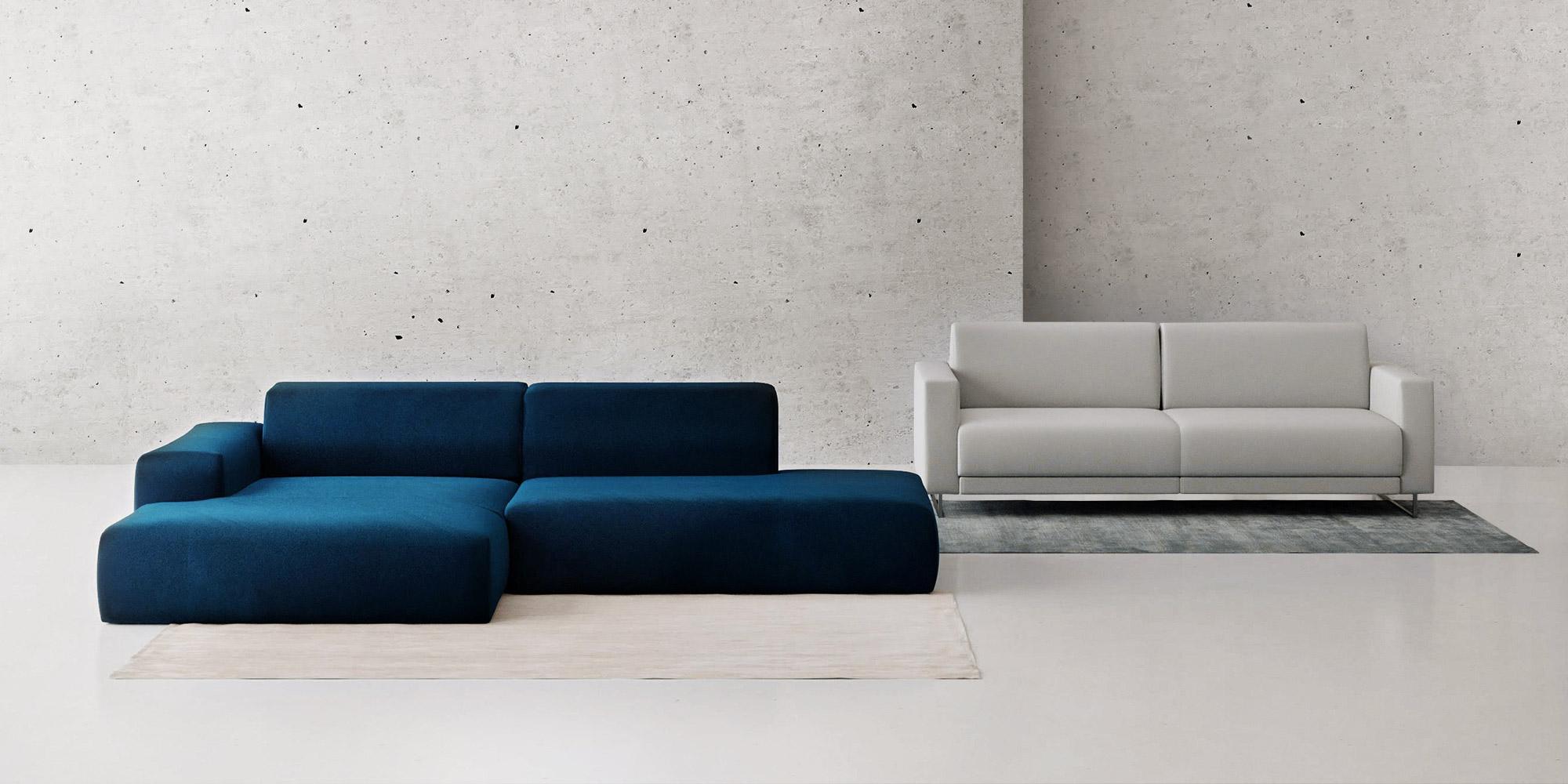 blue and grey sofas