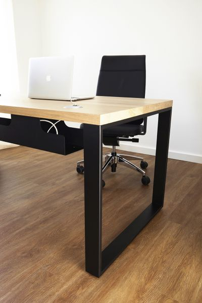 "Oak desk with black powder-coated ""Symple"" steel legs"