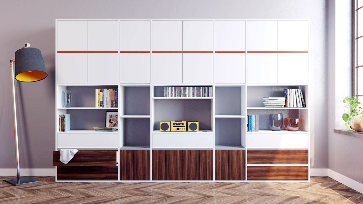 White cupboard with walnut and white fronts